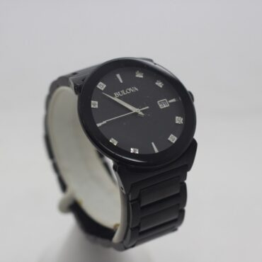 All Black Bulova watch with diamond dials.