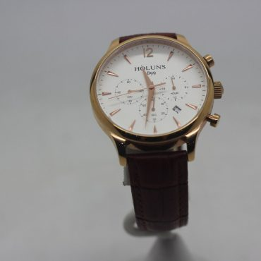 Rose gold style face exterior with light brown leather band.